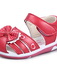 Girls' Flats First Walkers Leatherette Spring Fall Casual Walking First Walkers Magic Tape Low Heel Peach White Flat