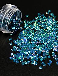 1g/Bottle Fashion Gorgeous Lake Blue Heart Shape Glitter Sequins Starry Shining Design Nail Art Lovely DIY Beauty Paillette 3D Decoration 1400W