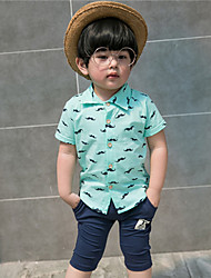 Boy's Fashion And LovelyHaroun Pants Cartoon Beard With Short Sleeves Shirt Two-Piece Dress