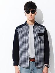 Camicia Da uomo Per uscire Casual Vintage Semplice Autunno Inverno,A quadri Colletto Cotone Poliestere Manica lunga Medio spessore