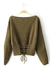 Для женщин На выход На каждый день Простое Уличный стиль Обычный Пуловер Однотонный,Круглый вырез Длинный рукав Шерсть Акрил Полиэстер