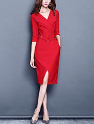Для женщин Для вечеринок Офис Большие размеры Секси Облегающий силуэт Платье Однотонный,V-образный вырез До колена Рукав 3/4Искусственный