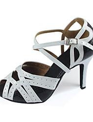 Damen Latin Seide Sandalen Sneakers Professionell Verschlussschnalle Stöckelabsatz Orange Purpur Schwarz/Weiß 5 - 6,8 cm Maßfertigung