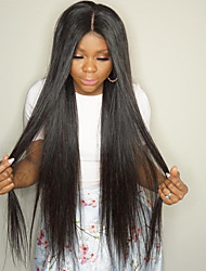 HOT Long Silk Straight Lace Front Wigs 8-30Inch Natural Black Color Brazilian Human Hair Wigs With Baby Hair For Women