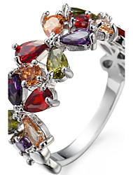 Band Rings Settings Ring  Luxury Elegant Noble Zircon Women's  Flower Multicolor  Euramerican Fashion Birthday Wedding Movie Gift Jewelry