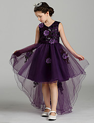 Ball Gown Sweep / Brush Train Flower Girl Dress - Polyster Jewel with Applique Satin Bow Flower(s) Floral