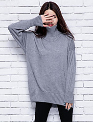 Women's Casual/Daily Cute Long Cardigan,Solid Round Neck Long Sleeve Wool Spring Thick Stretchy