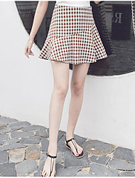 Women's Casual/Daily Above Knee Skirts A Line Plaid Summer