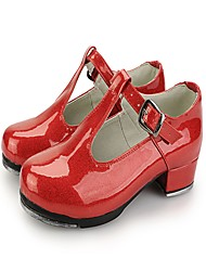 """Women's Tap Patent Leather Leatherette Heels Practice Satin Flower Low Heel Light Red Black White 1"""" - 1 3/4"""""""