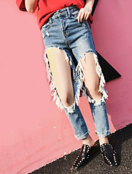 Women's High Rise Inelastic Jeans Pants,Simple Relaxed Solid