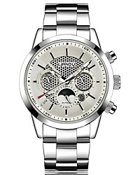 Men's Fashion Watch Quartz Stainless Steel Band Casual Black Silver