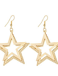 Hot New Fashion Elegant Charm Plated Gold/Silver Hollow Five-pointed Star Drop Earrings For Women Dangle Long Earrings Jewelry Bijouterie