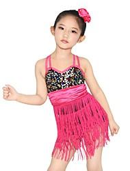 MiDee Dance Dancewear Children's Adults' Fringes Latin Dress Biketard Latin Dance outfits