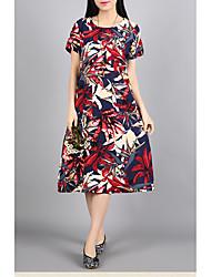 Для женщин На выход На каждый день Секси Уличный стиль Шинуазери (китайский стиль) А-силуэт Оболочка ПлатьеЦветочный принт Текстура