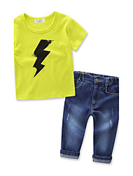 Boys' Solid Color lightning SetsCotton Denim Summer Short Sleeve Clothing Set Boys Cowboy Long Pants T-shirt Clothes Suit