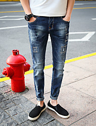 Men's Mid Rise Micro-elastic Skinny Jeans Pants,Street chic Slim Embroidery Special Design