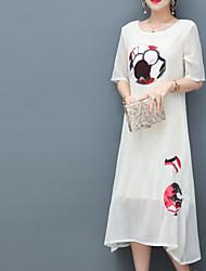 Damen Tunika Kleid-Lässig/Alltäglich Einfach Druck Rundhalsausschnitt Midi Kurzarm Andere Sommer Mittlere Hüfthöhe Mikro-elastisch Mittel