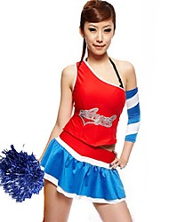 Cheerleader Costumes Outfits Women's Performance Polyester Splicing 2 Pieces Sleeveless Natural Skirts Tops