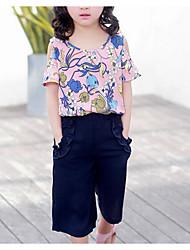 Girls' Floral Sets,Cotton Summer Short Sleeve Clothing Set