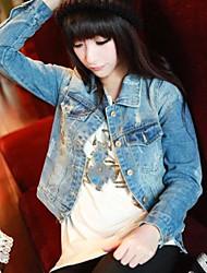 Women's Daily Modern/Comtemporary Fall Denim Jacket,Solid Shirt Collar Long Sleeve Short Others