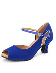 "Women's Latin Faux Suede Heels Indoor Rhinestone Customized Heel Blue Ruby Black 2"" - 2 3/4"" Customizable"