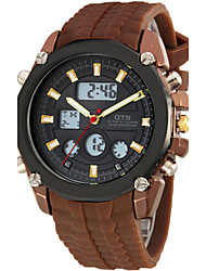 Men's Fashion Watch Digital Rubber Band Brown
