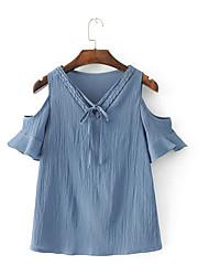 Damen Solide Einfach Alltag Normal T-shirt,V-Ausschnitt Kurzarm Acryl