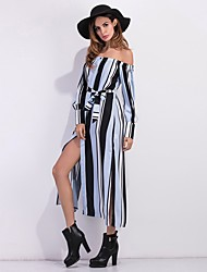 Women's Party Beach Holiday Going out Casual/Daily Sexy Vintage Simple Tunic Black and White Dress,Striped Boat Neck Midi Long Sleeve
