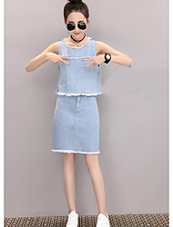 Women's Casual/Daily Simple Summer Tank Top Skirt Suits,Solid Round Neck Sleeveless Micro-elastic
