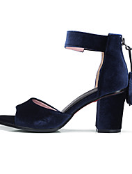 Women's Sandals Club Shoes Comfort Ankle Strap Leatherette Summer Outdoor Dress Casual Tassel Chunky HeelBurgundy Royal Blue Army Green