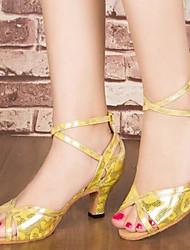 Damen Tanz-Turnschuh PU Sandalen Sneakers Im Freien Blockabsatz Gold Schwarz Silber 5 - 6,8 cm