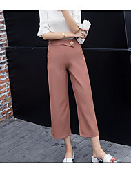 Women's High Waist Inelastic Culotte Pants,Simple Wide Leg Solid