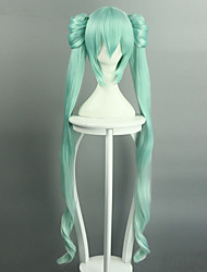 Vocaloid Hatsune Miku 40cm/120cm Two Parts Length Long Wig Heat Resistant Japanese Style Anime Cosplay Wigs Hair Cap Hairnet Halloween HIT STYLE