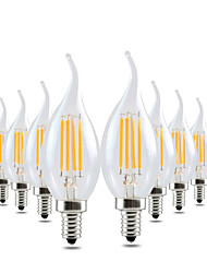 4W Luzes de LED em Vela CA35 4 COB 300-400 lm Branco Quente Regulável Decorativa AC 110-130 V 10 pçs