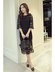Women's Going out Sexy Lace Dress,Lace Round Neck Midi 3/4 Length Sleeve Lace Summer Mid Rise Inelastic Medium