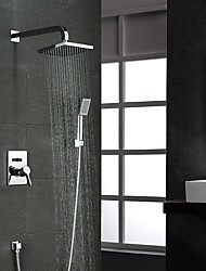 Contemporary Chrome Shower Faucet with 8 inch Shower head / Hand Shower