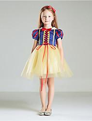 Ball Gown Knee Length Flower Girl Dress - 100%Cotton Short Sleeves Jewel Neck