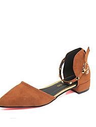 Women's Heels Ankle Strap PU Spring Summer Casual Ankle Strap Buckle Low Heel Dark Brown Blushing Pink Black 1in-1 3/4in