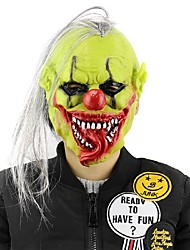 Hot Halloween Scary Mask With Wig Hair Green Face Clown Latex Masks Lightweight For Halloween Masquerade Costume Party Bar