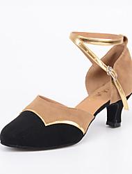Для женщин Современный Искусственная замша На каблуках Для закрытой площадки С пряжкой Черный 5 - 6,8 см Персонализируемая