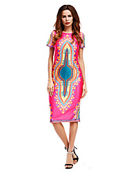 Women's Going out Vintage Street chic Loose Dress,Pattern Patchwork Round Neck Above Knee Short Sleeve Cotton Spandex Spring SummerMid