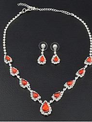 Women's Drop Earrings Choker Necklaces Bridal Jewelry Sets Ruby Vintage Elegant  Cubic Zirconia Jewelry Sets For Wedding Anniversary