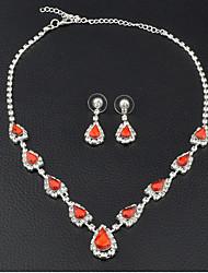 Damen Tropfen-Ohrringe Halsketten Braut-Schmuck-Sets Rubin Vintage Elegant Edelstein Kubikzirkonia Herzform FürHochzeit Party Verlobung