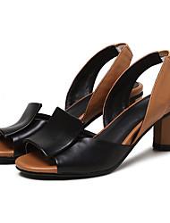 Damen High Heels Pumps Künstliche Mikrofaser Polyurethan Frühling Sommer Normal Kleid Pumps Kombination Blockabsatz Schwarz Silber5 - 7
