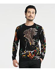 Standard Pullover Da uomo-Quotidiano Casual Semplice Modello Vari colori Rotonda Manica lunga Cotone Maglia Primavera AutunnoMedio