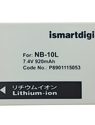 Ismartdigi 10L 7.4V 820mAh Camera Battery for Canon G1X G15 G16 SX40HS SX50HS
