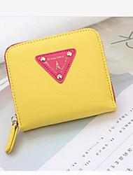 Mulher Porta Dinheiro Couro Ecológico Todas as Estações Casual zíper Amarelo Vermelho Rosa claro