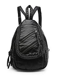 IMBETTUY Women's Fashion Splicing Zipper PU Leather Backpack
