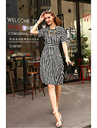 MMLJ Women's Going out Casual/Daily Vintage Street chic Bodycon DressSolid Playing with Apple Logo V Neck Knee-length 3/4 Length Sleeve