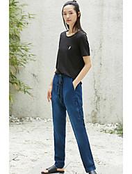 Feminino Simples Cintura Média Inelástico Chinos Jeans Calças,Delgado Sólido